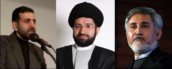 از راست: محمد رضا خاتمی، مسعود خامنه ای، صادق خرازی