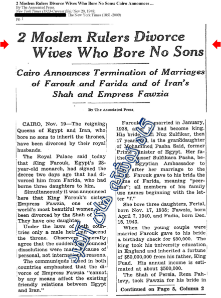 """عنوان مقاله ۶۵ سال پیش نیویورک تایمز: """"دو حاکم مسلمان، همسران خود را که فرزند پسری به دنیا نیاورده بودند طلاق دادند!"""""""
